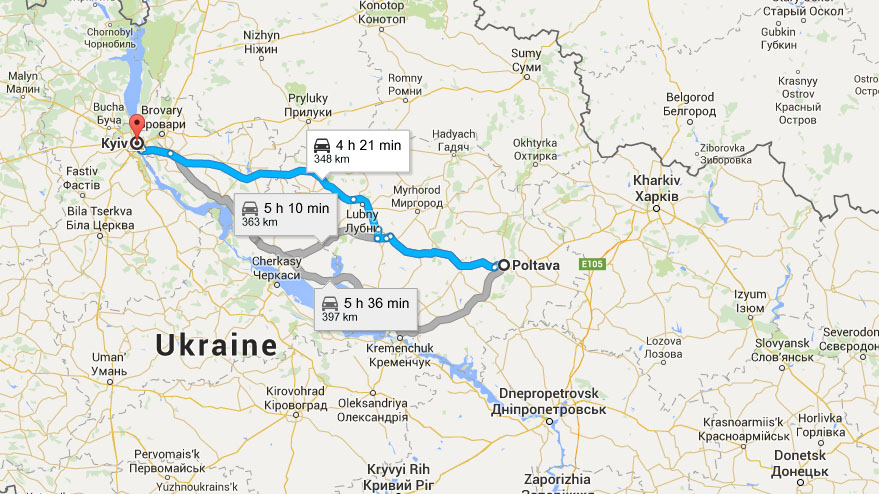 Map of travelling to Poltava from Kiev by car.